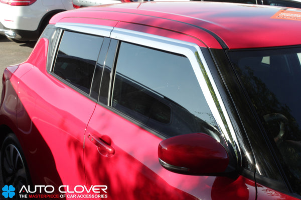 Auto Clover Chrome Wind Deflectors Set for Suzuki Swift 2017+ (4 pieces)
