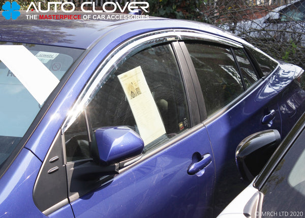 Auto Clover Chrome Wind Deflectors Set for Toyota Prius 2016+ (4 pieces)