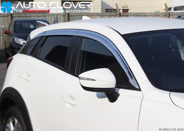Auto Clover Chrome Wind Deflectors Set for Mazda CX-3 2015+ (6 pieces)
