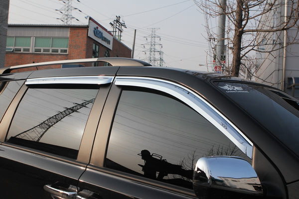 Auto Clover Chrome Wind Deflectors Set for Kia Sedona 2006 - 2014 (4 pieces)