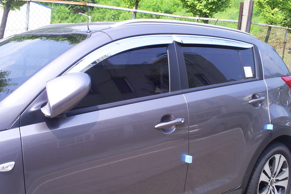 Auto Clover Chrome Wind Deflectors Set for Kia Sportage 2010 - 2015 (4 pieces)