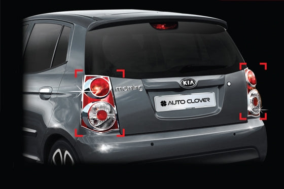 Auto Clover Chrome Tail Light Covers Trim Set for Kia Picanto 2009 - 2011