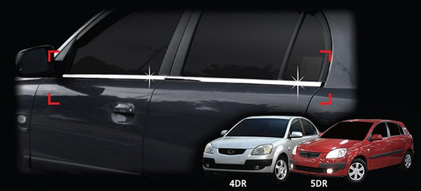 Auto Clover Chrome Side Window Frame Trim Cover Set for Kia Rio 2005 - 2011