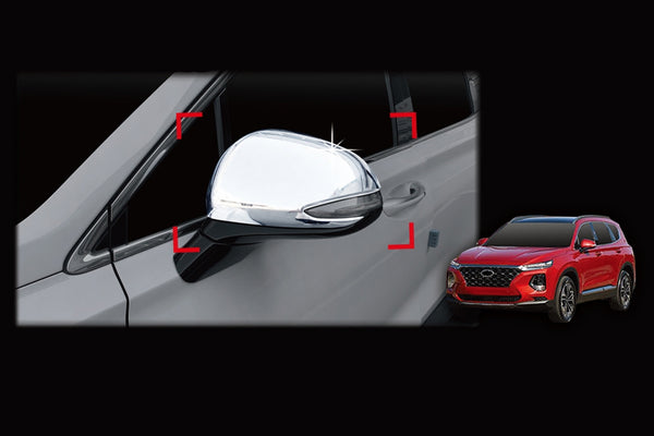 Auto Clover Chrome Wing Mirror Cover Trim Set for Hyundai Santa Fe 2019+