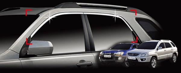 Auto Clover Chrome Side Window Top Frame Cover Trim Set for Kia Sportage 2005 - 2010