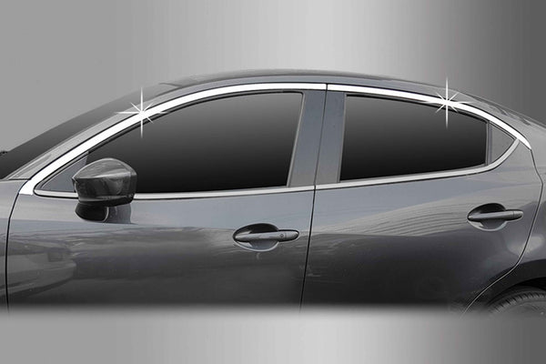 Auto Clover Chrome Side Window Top Frame Trim Cover Set for Mazda 2 2014+