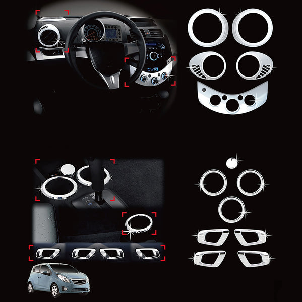 Auto Clover Chrome Interior Styling Set for Chevrolet Spark 2010 - 2012
