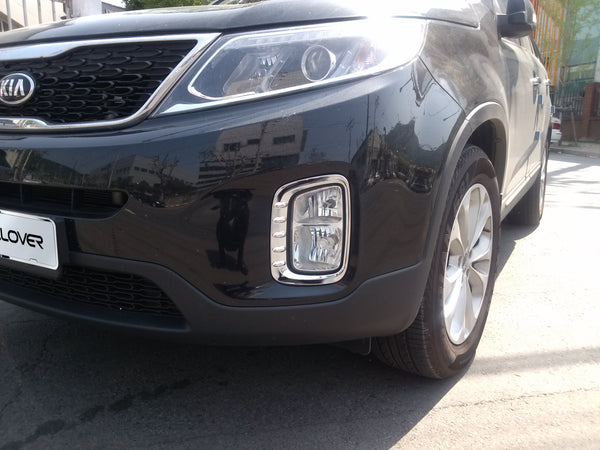 Auto Clover Chrome Front Fog Light Covers Trim Set for Kia Sorento 2013 - 2014