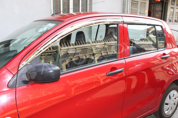 Auto Clover Chrome Wind Deflectors Set for Suzuki Celerio 2014+ (4 pieces)