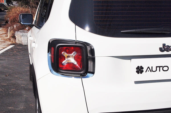 Auto Clover Chrome Tail Light Cover Trim Set for Jeep Renegade 2014+