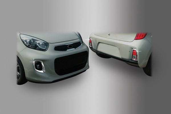 Auto Clover Chrome Front and Rear Fog Light Trim Set for Kia Picanto 2015 - 2016