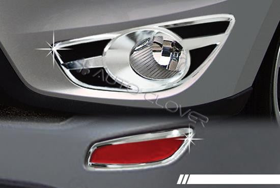 Auto Clover Chrome Front & Rear Fog Light Cover for Hyundai Santa Fe 2010 - 2012