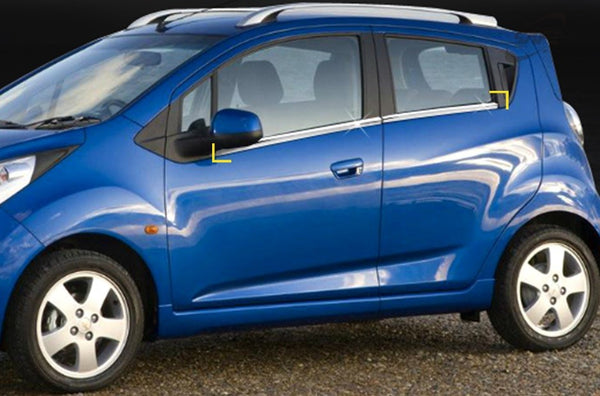 Auto Clover Chrome Side Door Window Frame Trim Cover for Chevrolet Spark 2010-15
