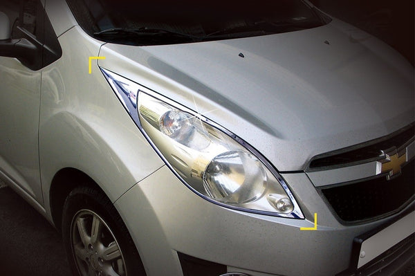 Auto Clover Chrome Head Light Surrounds Trim Set for Chevrolet Spark 2010 - 2015
