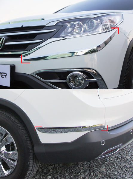 Auto Clover Chrome Front and Rear Bumper Trim Set for Honda CRV 2012 - 2014