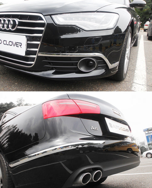 Auto Clover Chrome Front and Rear Bumper Trim Set for Audi A6 2011 - 2018