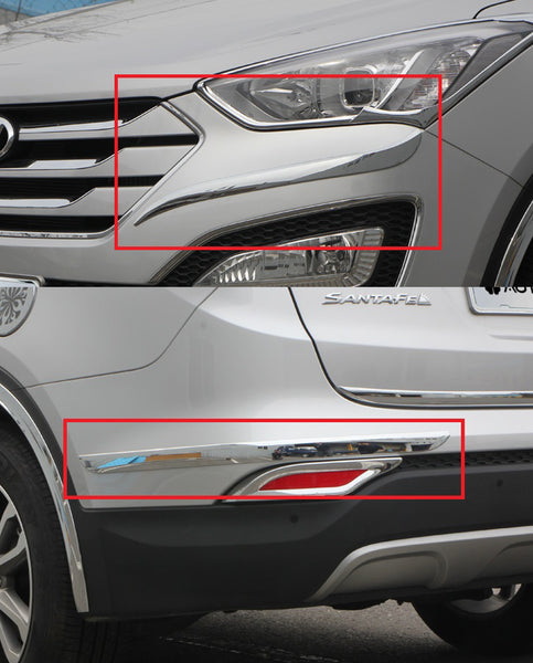 Auto Clover Chrome Front and Rear Bumper Trim for Hyundai Santa Fe 2013 - 2018