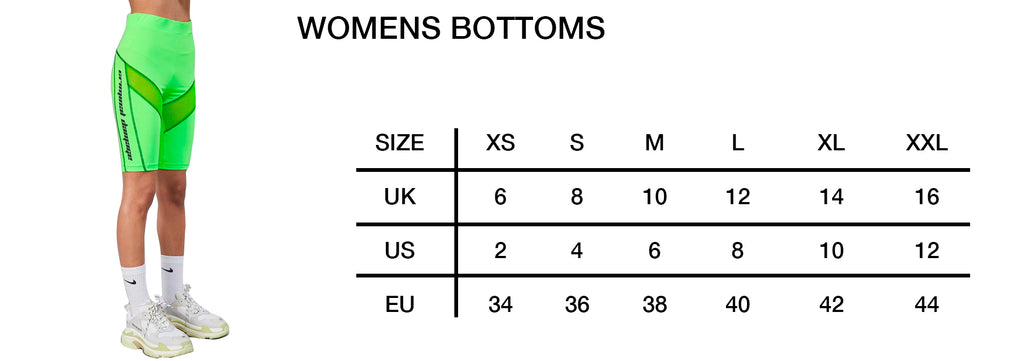 Womens Bottoms Size Guide