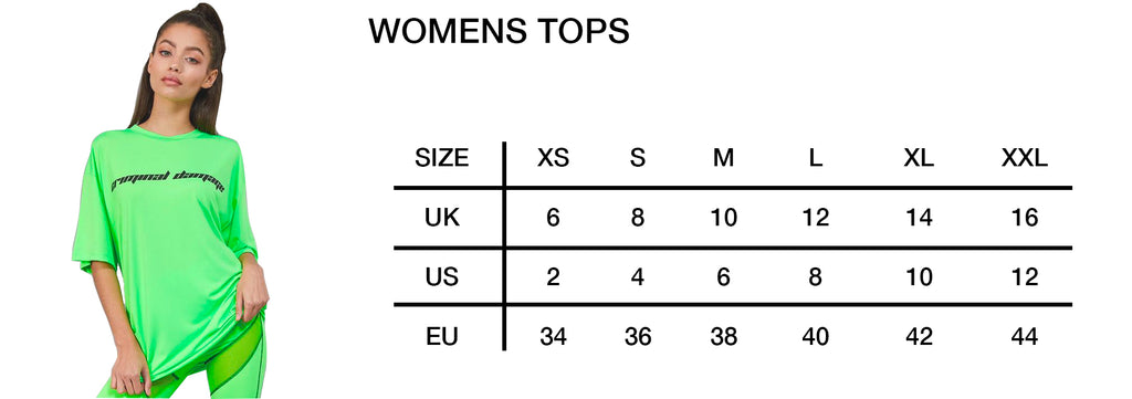 Womens Tops Size Guide