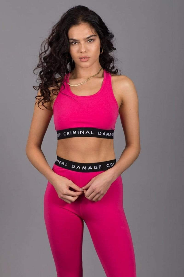 Criminal Damage CROP-TOP Basic Bra Top - Fushia