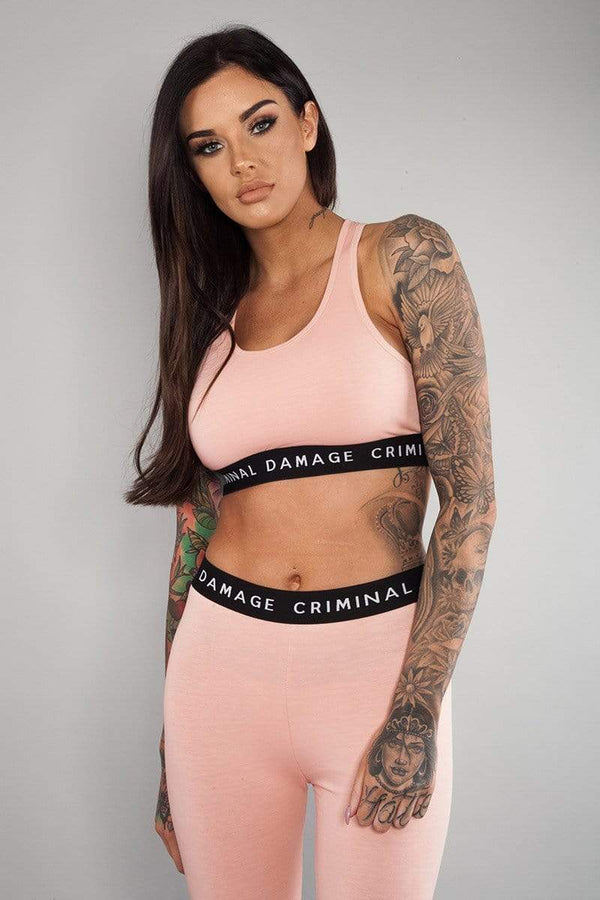 Criminal Damage CROP-TOP Basic Bra Top - Pink