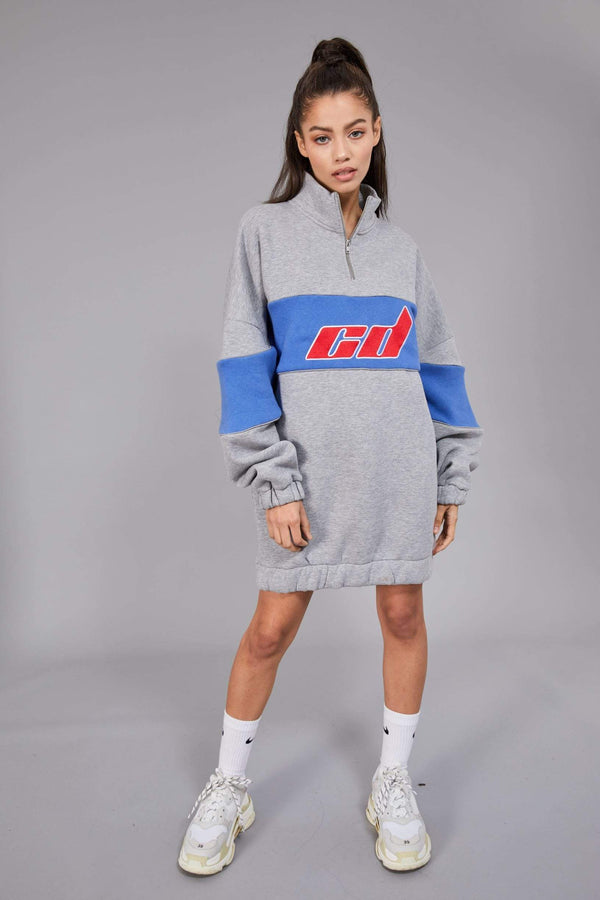 Criminal Damage Dress Extreme Oversized Dress - Grey Marl
