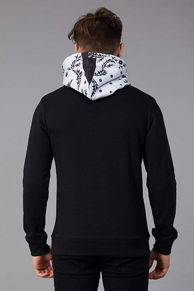 Criminal Damage HOODIE Bandana Hood - Black/White