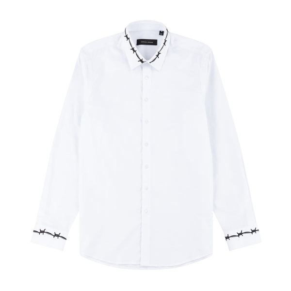 Criminal Damage HOODIE Barb Shirt - White