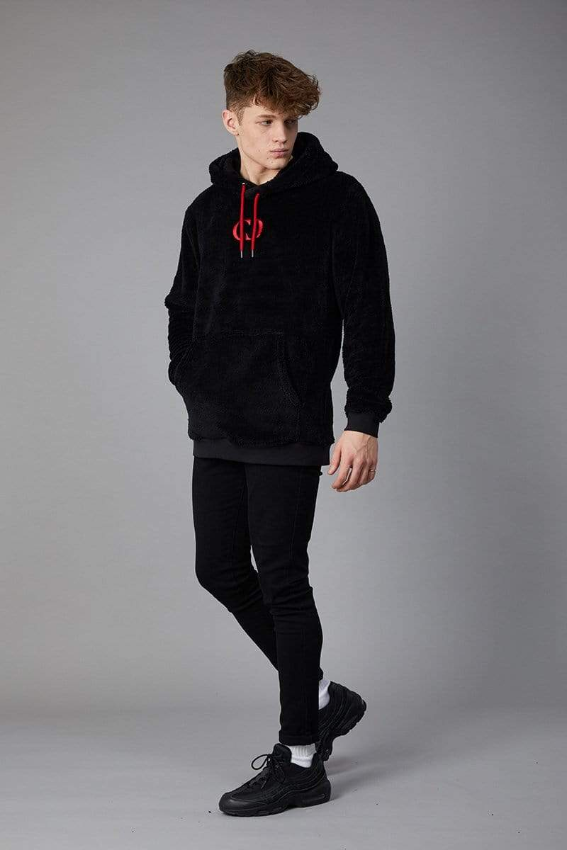 Criminal Damage HOODIE Bear Fleece Hood - Black