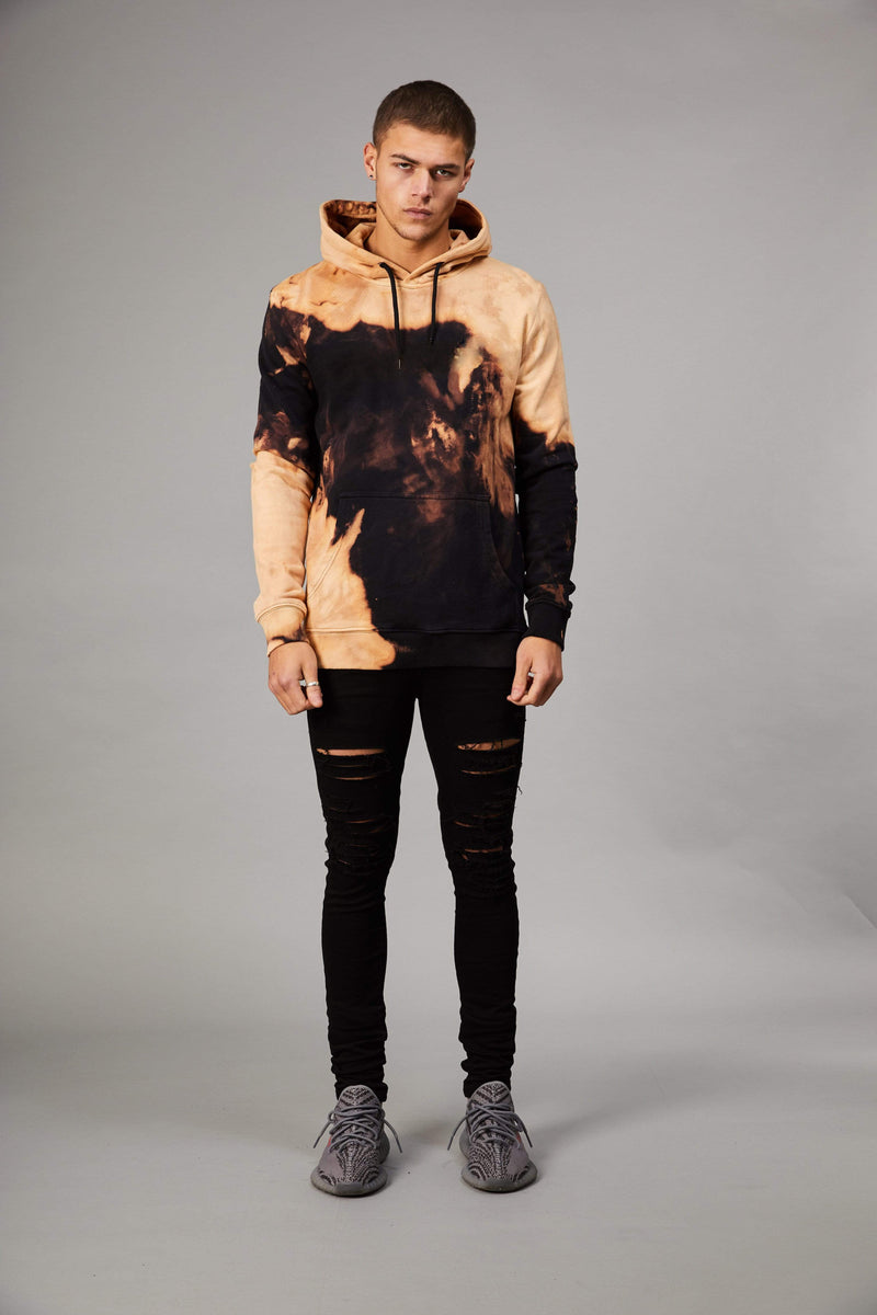Criminal Damage HOODIE Bleach Hood - Black/Tan