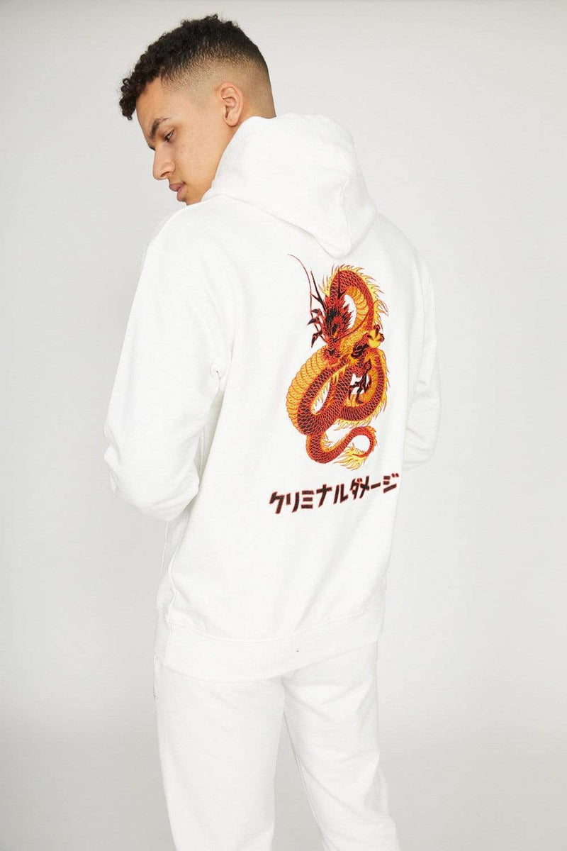 Dragon Embroidery Hood - Offwhite