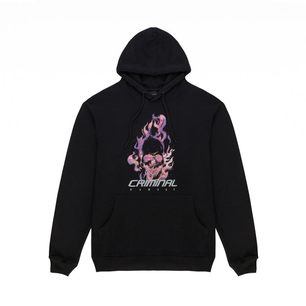 Criminal Damage HOODIE Flamin Skull Hood - Black