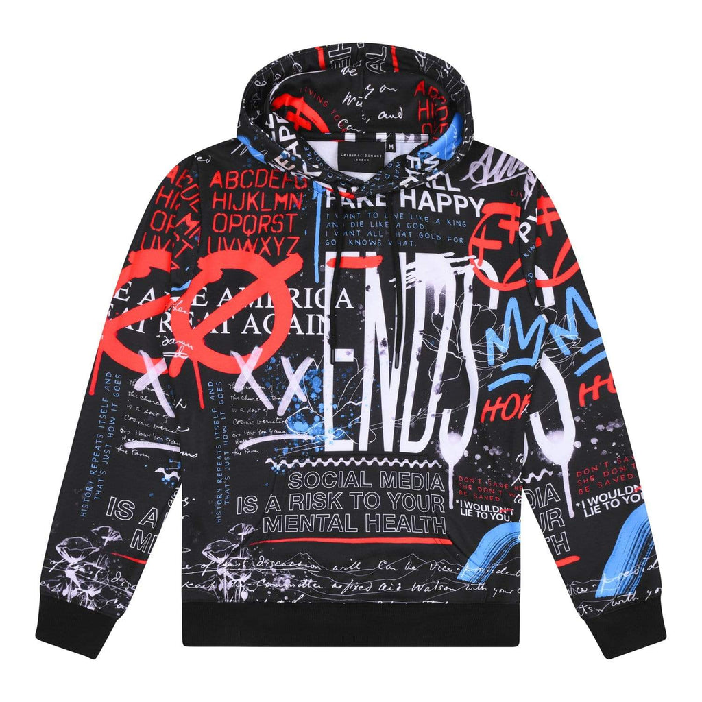 Criminal Damage HOODIE Graffiti Hood - Black/Multi
