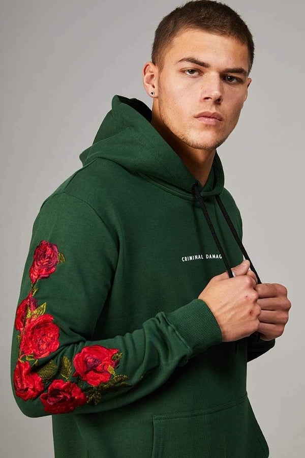 Criminal Damage HOODIE Green / XS Petal Hood