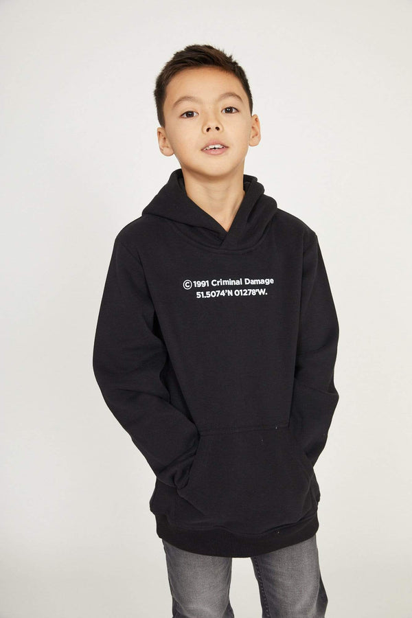 Criminal Damage HOODIE Kids Established Hood - Black
