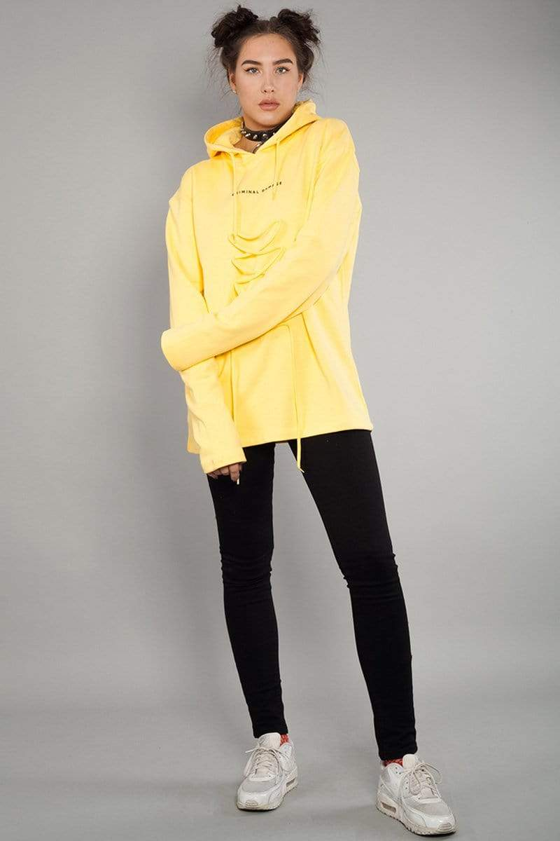 Criminal Damage HOODIE Lace Hood - Yellow/Black