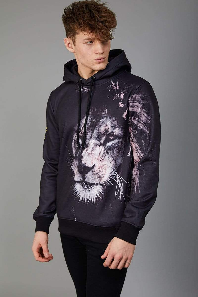 Criminal Damage HOODIE Lion Hood - Black