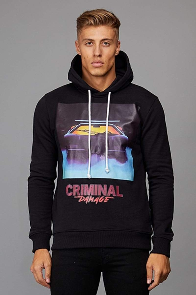 Criminal Damage HOODIE Night Hood - Black/ Multi