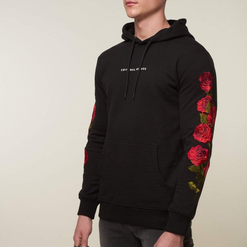 Criminal Damage HOODIE Petal Hood - Black