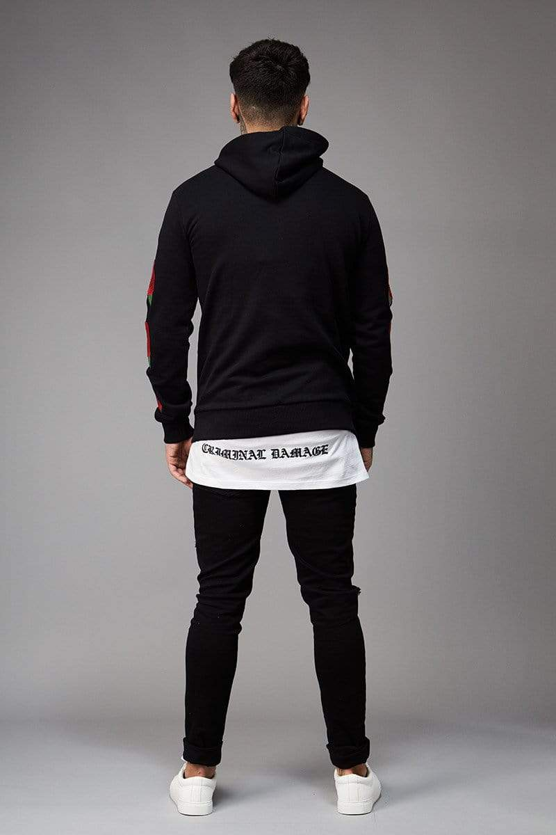 Criminal Damage HOODIE Rosa Hood - Black