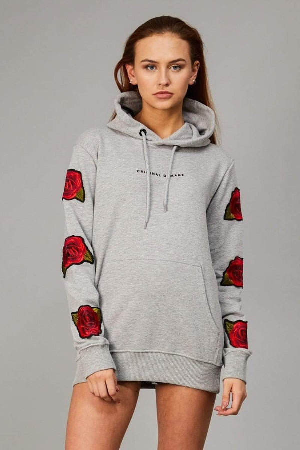Criminal Damage HOODIE Rosa Hood - Grey