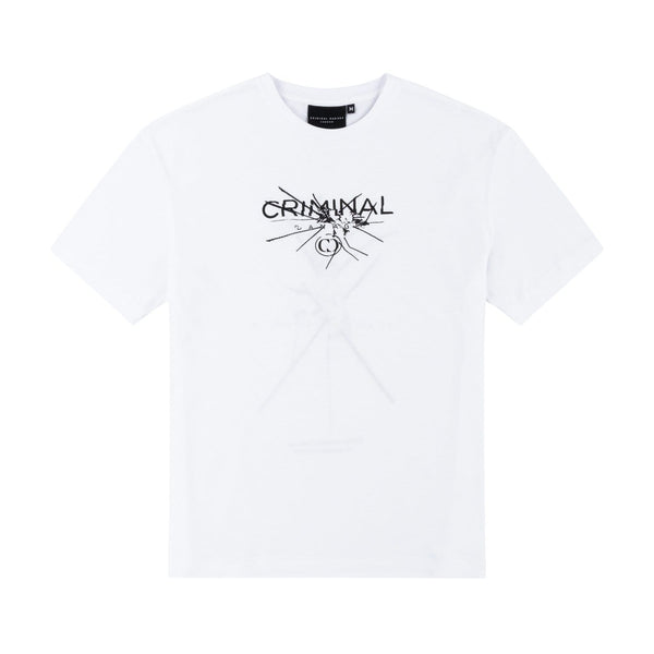 Criminal Damage HOODIE Smash Tee - White