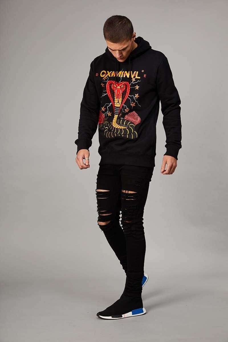 Criminal Damage HOODIE Snake Hood - Black/Multi