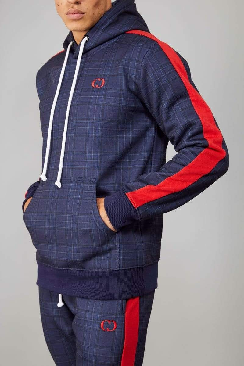 Criminal Damage HOODIE Tarten Hood - Navy/ Multi