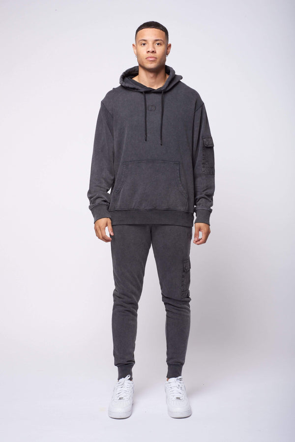 Criminal Damage HOODIE Utility Hood - Washed Black