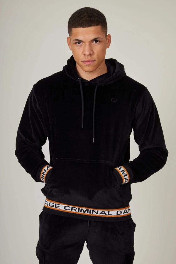 Criminal Damage HOODIE Velour Hood - Black