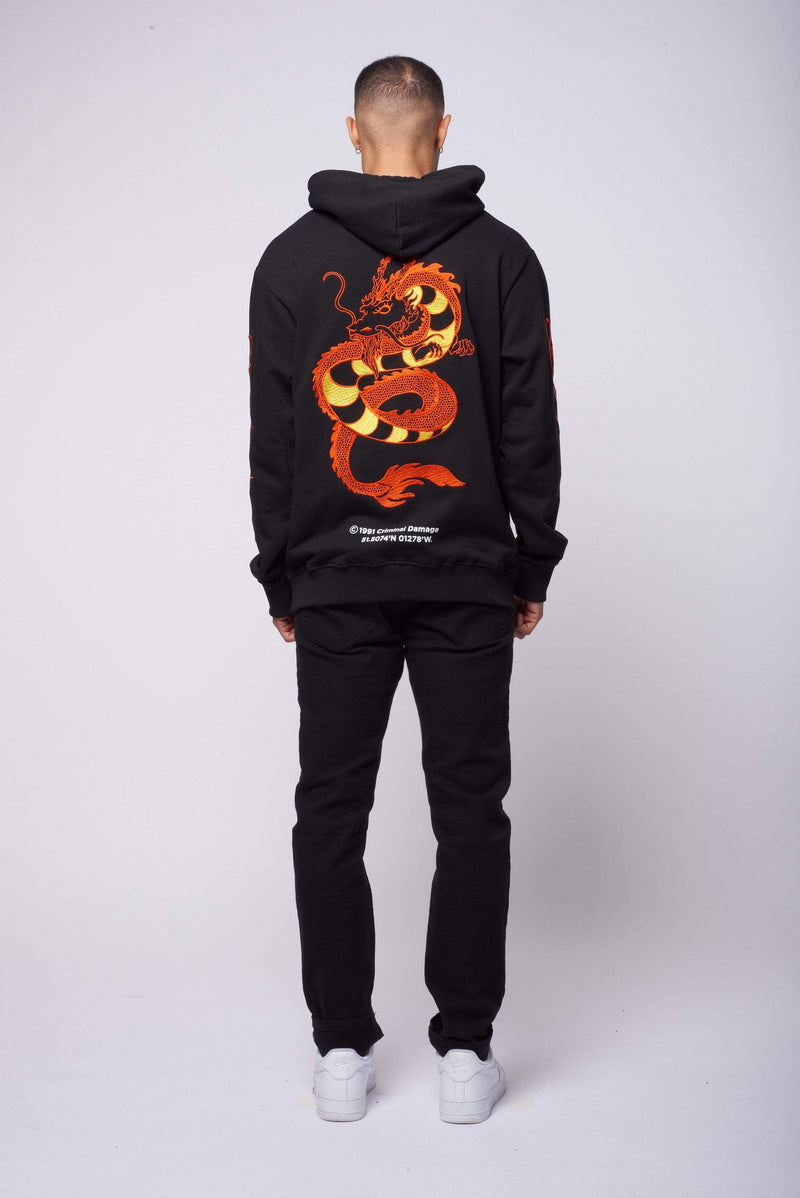 Criminal Damage HOODIE Wire Dragon Embroidery Hood - Black