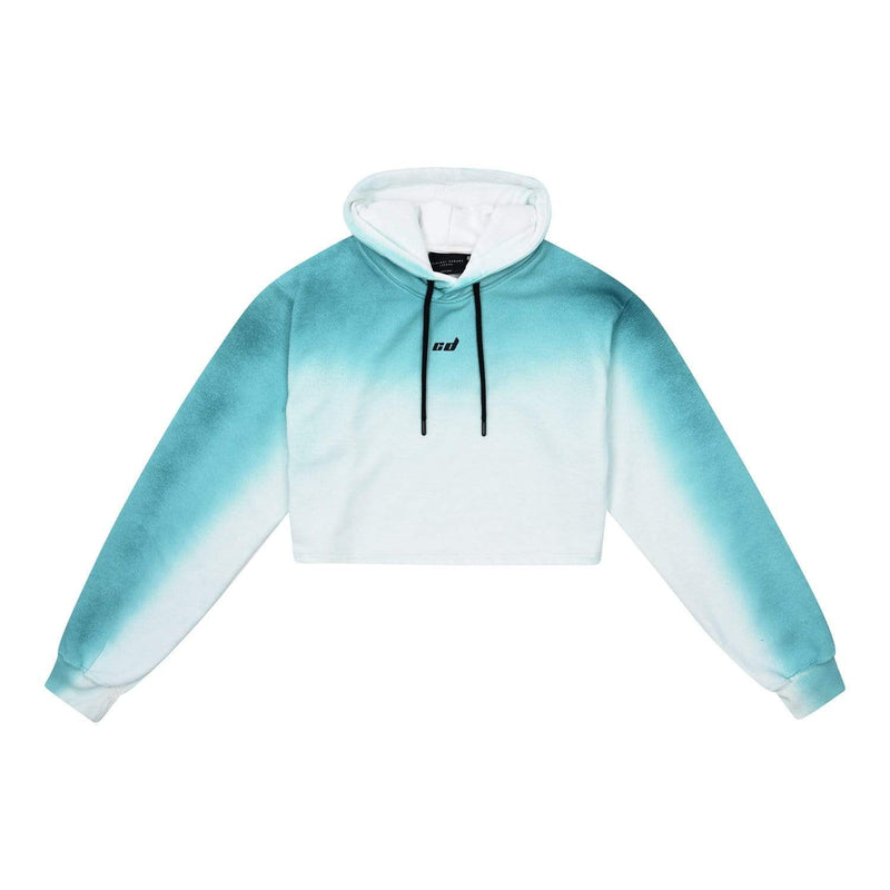 Track Crop Hood - White / Blue
