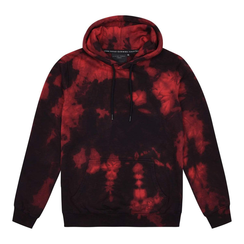 Criminal Damage HOODIE XS Dye Hood - Black/Red