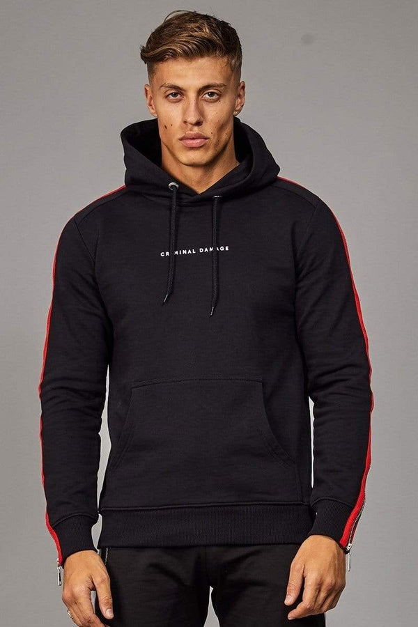 Criminal Damage HOODIE Zip Hood - Black/ Red